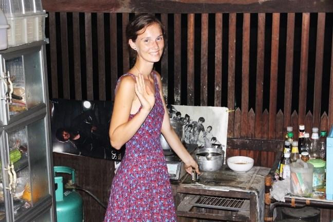 Nastia cooking at Thai kitchen
