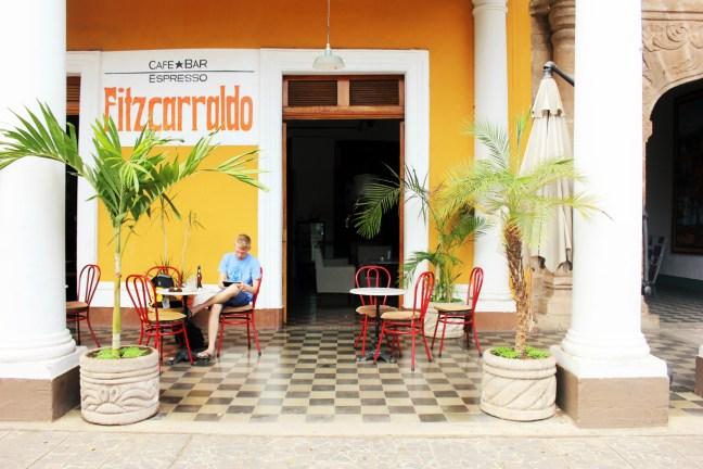 Luke outside cafe fitz in Granada Nicaragua