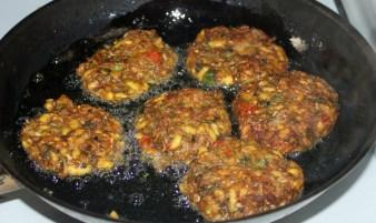 Caribbean vegan burger frying Puerto viejo costa rica - Charlie on Travel