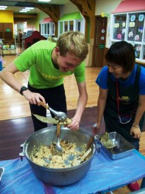 Making zongzi for Dragon Boat festival