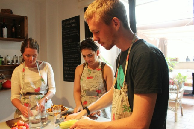 Preparing salad at Barcelona Slow Travel tapas cooking class - Charlie on Travel
