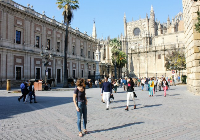 Slow Travel in Seville - Standing by Seville Cathedral - Charlie on Travel 1200