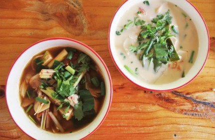 Thai coconut soup and Tom Yum soup at Thai Farm Cooking Class