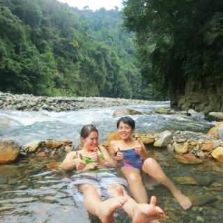 Wild mountain hot spring in Yilan Taiwan