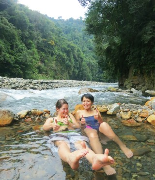 Wild mountain hot spring in Yilan Taiwan