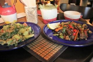 Luke's delicious seitan dish on the right