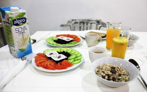 Vegan breakfast at Hostel Old Plovdiv - vegan in Bulgaria - Charlie on Travel