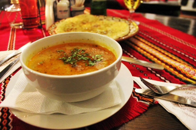 Vegan soup and bread in Bansko - Mehana Banski Han - Charlie on Travel
