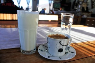 Yoghurt and Turkish coffee for breakfast