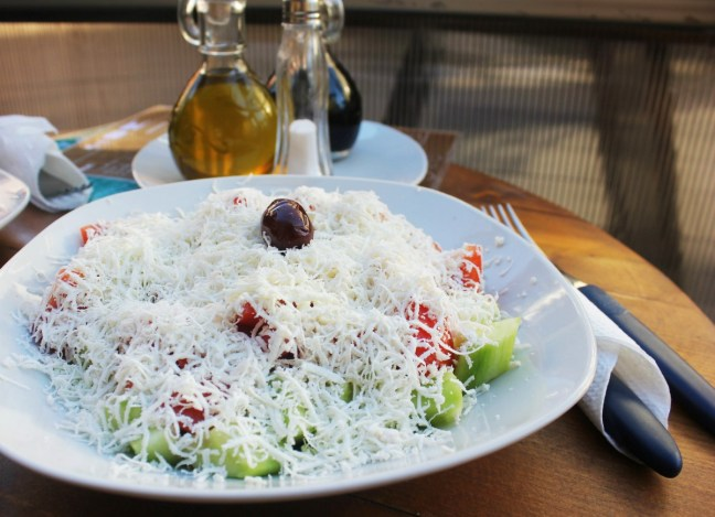 Shopska salad in Macedonia - Charlie on Travel