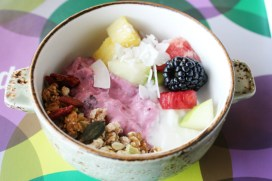 Bircher museli, fresh fruits, coconut and other goodies in my bowl