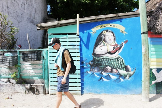 Fat mermaid mural - Isla Holbox Mexico - Charlie on Travel