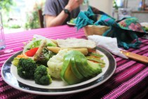 Vegetarian meal prepared by Sylvia and her husband
