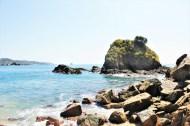 Mazunte Oaxaca Mexico beach rocky outcrop - Charlie on Travel