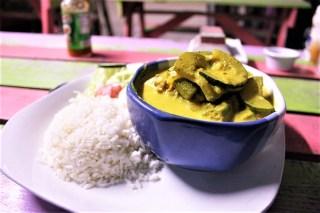 Vegetarian Curry at Meldys Belize Caye Caulker
