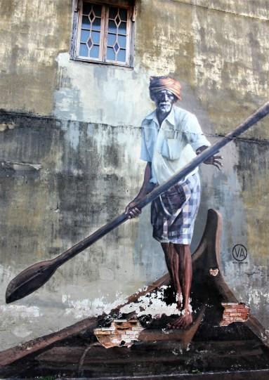 Indian boatman street art