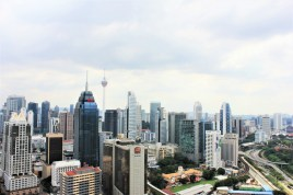 Kuala Lumpur skyline from our Airbnb apartment