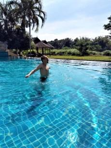 Luke bracing himself in the cold swimming pool