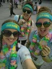 We did it! Us, our medals, and a hell of a lot of powdered paint.
