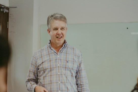 Charlie Pownall speaking on online reputation at FPT University, Hanoi, in 2016