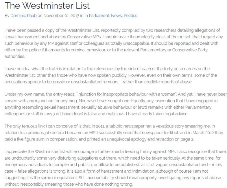 Statement by Dominic Raab MP on The Westminster List