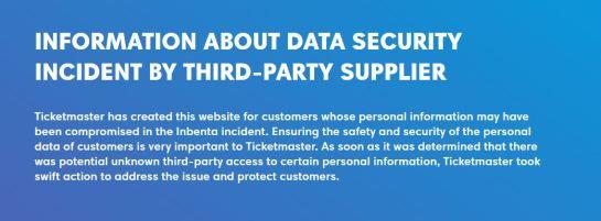 Ticketmaster on the Inbenta data breach