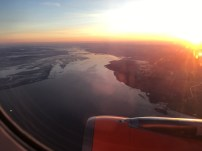 Sun rising as we set off