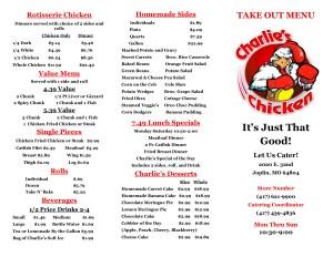 Charlie's Chicken Menu | Joplin MO