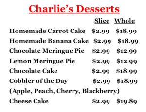 Charlie's Chicken Menu | Desserts | Joplin MO