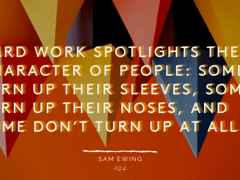 Hard work spotlights the character of people: some turn up their sleeves, some turn up their noses, and some don't turn up at all.