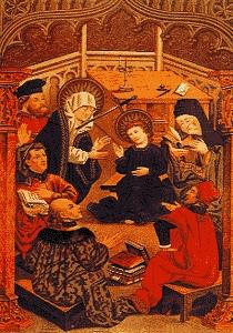 Władysław Jagiełlo w otoczeniu filozofów husyckich. Chyba Jasienica pisał, że wielu dostojników polskich całkiem na serio namawiało króla do przyłączenia się do powstania husyckiego.
