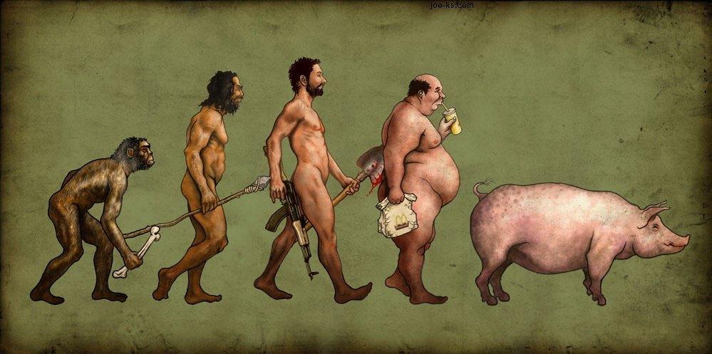 """Wariacja na temat wspomnianego """"Marszu rozwoju"""". Źródło: http://brabuss.deviantart.com/art/Evolution-121745132"""