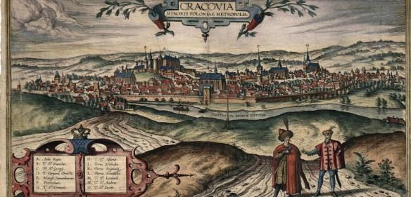 Panorama Krakowa. Początki wieku siedemnastego. Źródło: http://jbc.bj.uj.edu.pl/dlibra/doccontent?id=642&from=PIONIER%20DLF