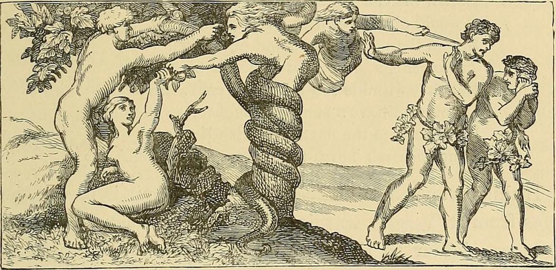 """Wąż ukazany jako kobieta - Lilith. Ilustracja z książki """"Demonology and devil-lore"""", 1879. Źródło: https://flic.kr/p/ow1TxL"""