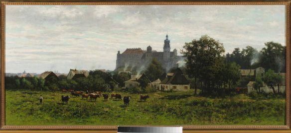 Kolejny widok. Tym razem na Wawel i tym razem z wieku XIX. Źródło: http://cyfrowe.mnw.art.pl/dmuseion/docmetadata?id=2860&show_nav=true