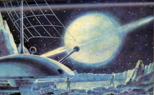 Ilustracja z sowieckiej książki o podboju kosmosu. Źródło: http://70sscifiart.tumblr.com/post/101078878786/madddscience-from-1967-soviet-science-fiction