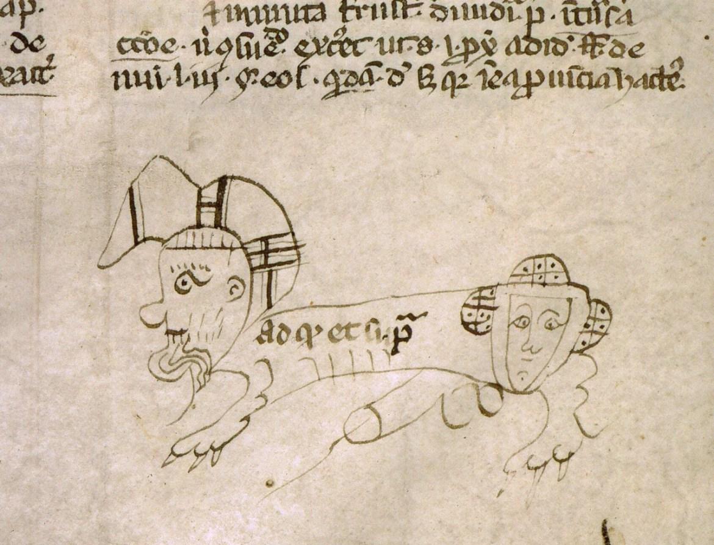 Bazgroły na marginesie. Dość stare bazgroły. (Codex Justinianus, Francja 13/14 wiek. Angers, Bibliothèque municipale, ms. 333, fol. 275v