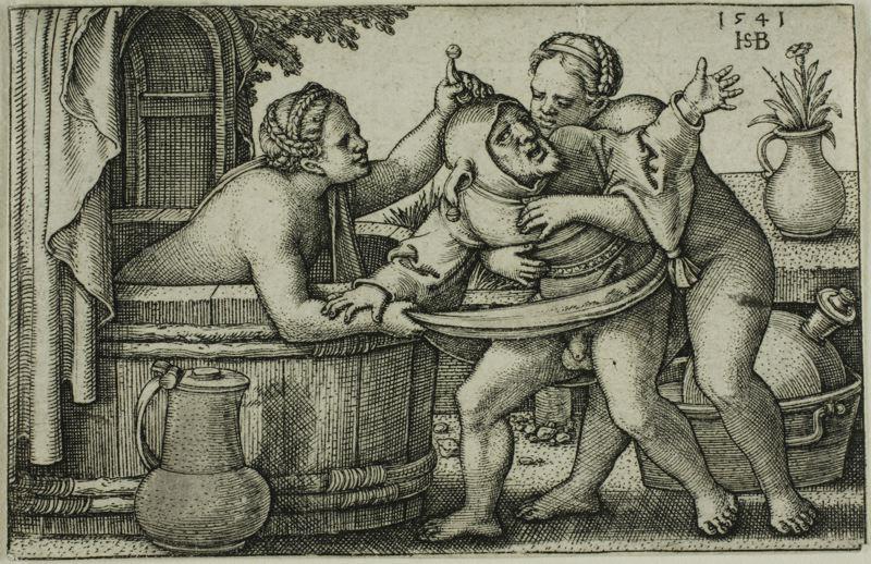Błazen i dwie kobiety w kąpieli.