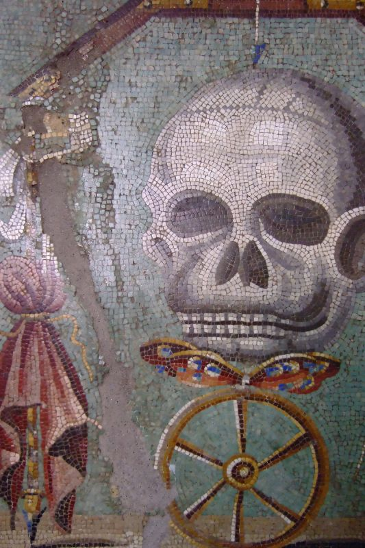 Pamiętaj o śmierci. Rzymska mozaika. Źródło: https://flic.kr/p/3sVzX3