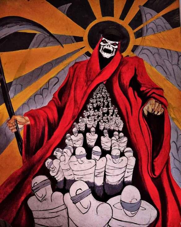 Ilustracje będą o śmierci. Mural z Argentyny. Źródło: https://commons.wikimedia.org/wiki/File:Political_Street_Art,_Resistencia,_Argentina_(6275937036).jpg