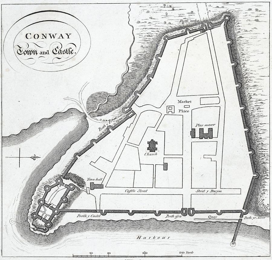 Plan zamku i miasta Conwy z roku 1800. Źródło: https://commons.wikimedia.org/wiki/File:Conway_Town_and_Castle.(Plan).jpeg