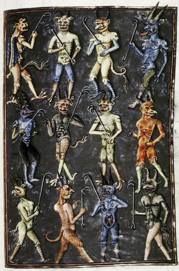 Kilku różnych diabołów. Źródło: http://discardingimages.tumblr.com/post/35344882138/pack-of-devils-livre-de-la-vigne-nostre-seigneur