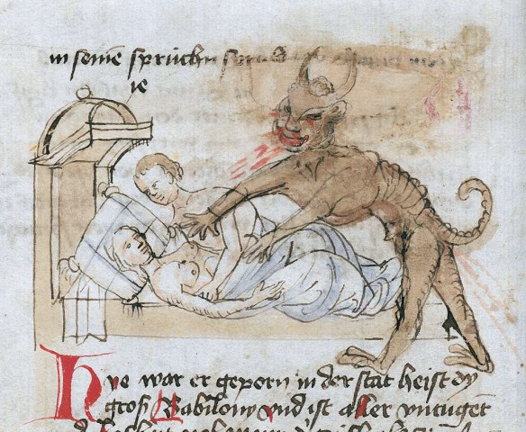 Diaboł tuli do snu. Źródło: http://discardingimages.tumblr.com/post/107451296828/bedtime-demon-konstanzer-weltchronik-germany-ca