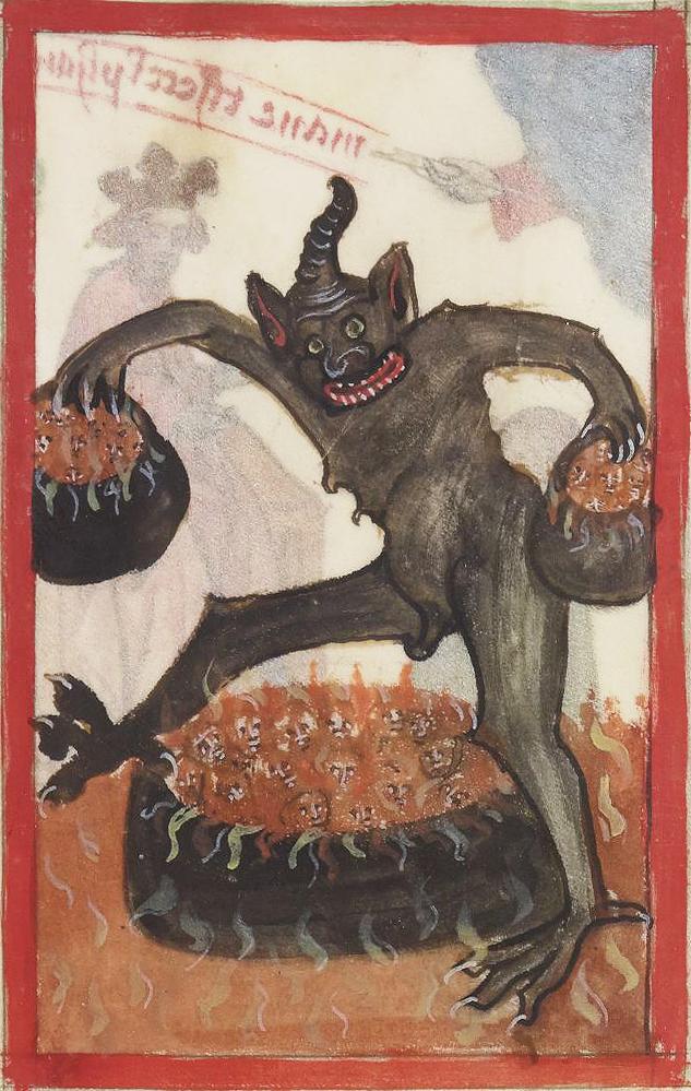 Sponsorem dzisiejszych obrazków jest Discarding Images. Diaboł - źródło: http://discardingimages.tumblr.com/post/119098238778/full-cauldrons-speculum-humane-salvationis