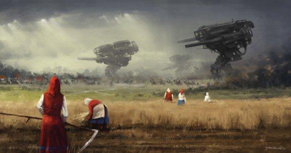 Uznałem, że świetnie do wpisu będą pasować grafiki Jakuba Różalskiego. Przecudne grafiki. Wszystkie pochodzą z stąd:https://www.artstation.com/artist/jakubrozalski