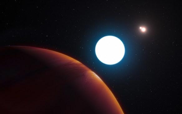 Artystyczna wizja nowo odkrytej planety z trzema słońcami. Źródło: https://flic.kr/p/JJyANL