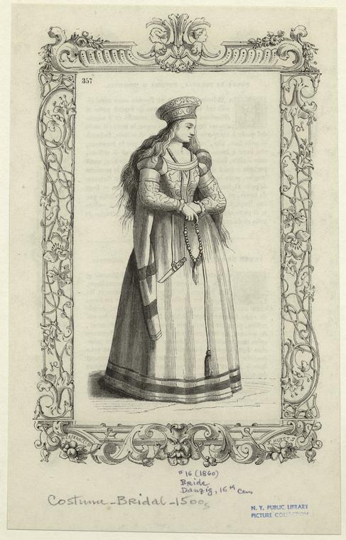"""A tu rycina podpisana - """"bride"""" czyli panna młoda. Źródło: NYPL Digital Collections"""