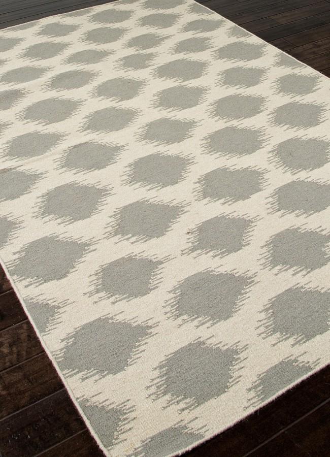 Modern Polka Dot Gray Flat Weave Wool Rug