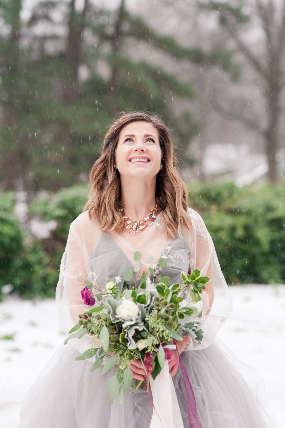 Winter Wedding Inspiration and Styled Shoot on a Rare Snow Day in Charlotte at VanLandingham Estate