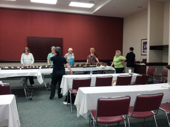CBHE members Karen Shuford and Greg Underwood teach a small ensemble class in Greensboro on April 17, 2015.